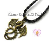 Collana in caucciù intrecciato nero - Dragon - Dragone - Drago - Idea regalo kawaii, uomo, unisex