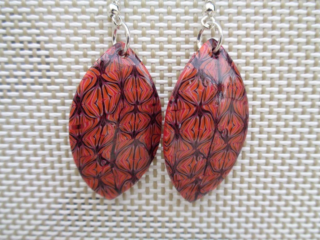 Orecchini pendenti pasta polimerica arancioni