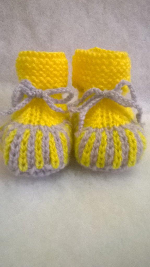 scarpine per neonato gialle e grigie