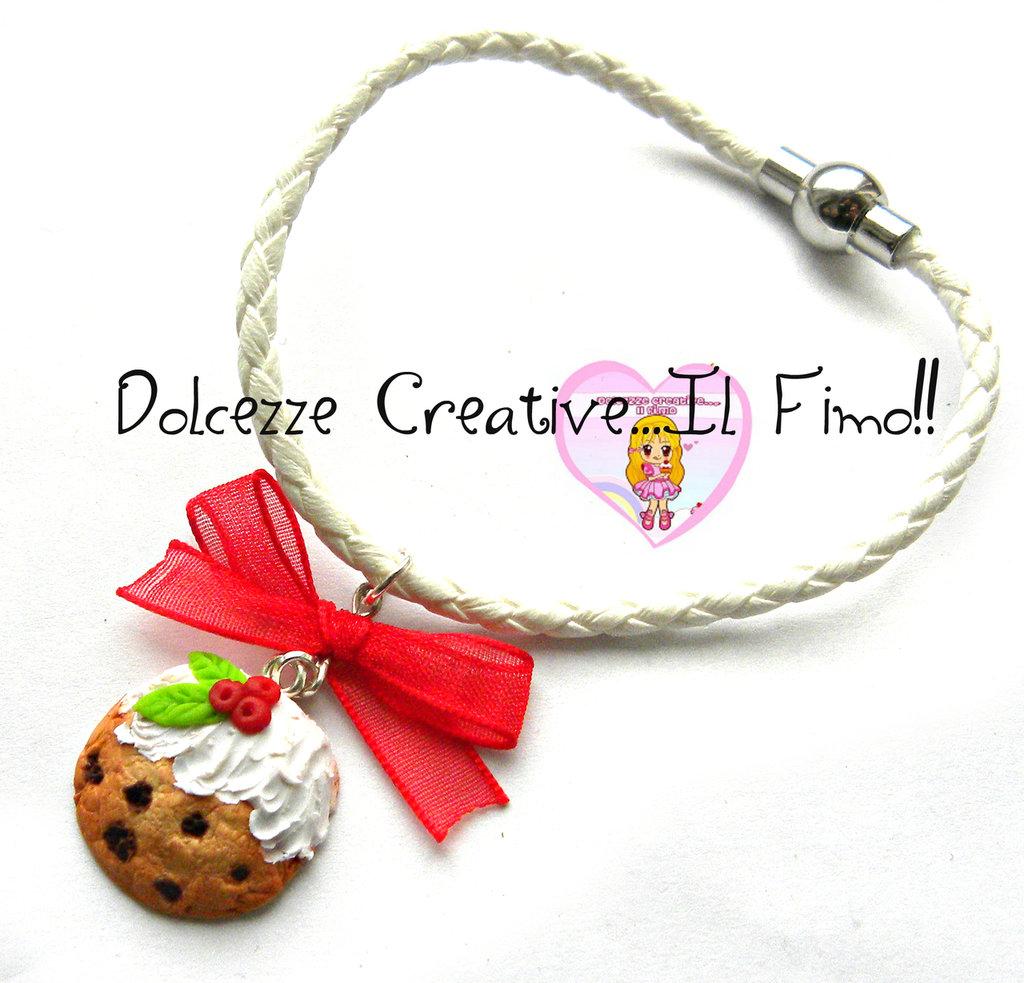 ☃ Natale In Dolcezze 2015 ☃ Bracciale Con biscotto e agrifoglio - Fiocco - Chiusura magnetica