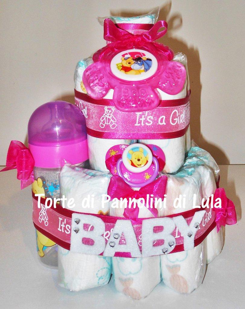 TORTA PANNOLINI + BIBERON + GIOCO + CIUCCIO, idea regalo nascita battesimo 1 anno