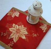 Runner rosso con pizzo oro- decorazioni natalizie - Dimensione 145x35 cm-  Pacchetto regalo incluso