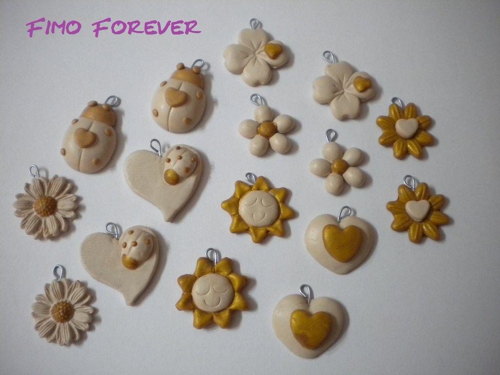 Lotto ciondoli in fimo fiore sole coccinella quadrifoglio handmade charms