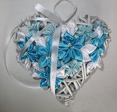 Cuore di vimini /fiocco nascita con fiori kanzashi colore azzurro