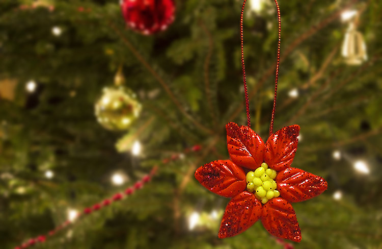 Decorazione stella natale rossa con brillantini per l'albero di natale modellata a mano in porcellana fredda
