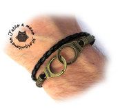 Bracciale UOMO manette Freedom braccialetto pelle nero bronzo