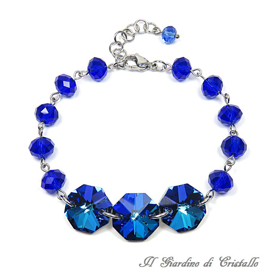 Bracciale acciaio e ottagoni di cristallo bermuda blue rondelle blu fatto a mano - Giglio