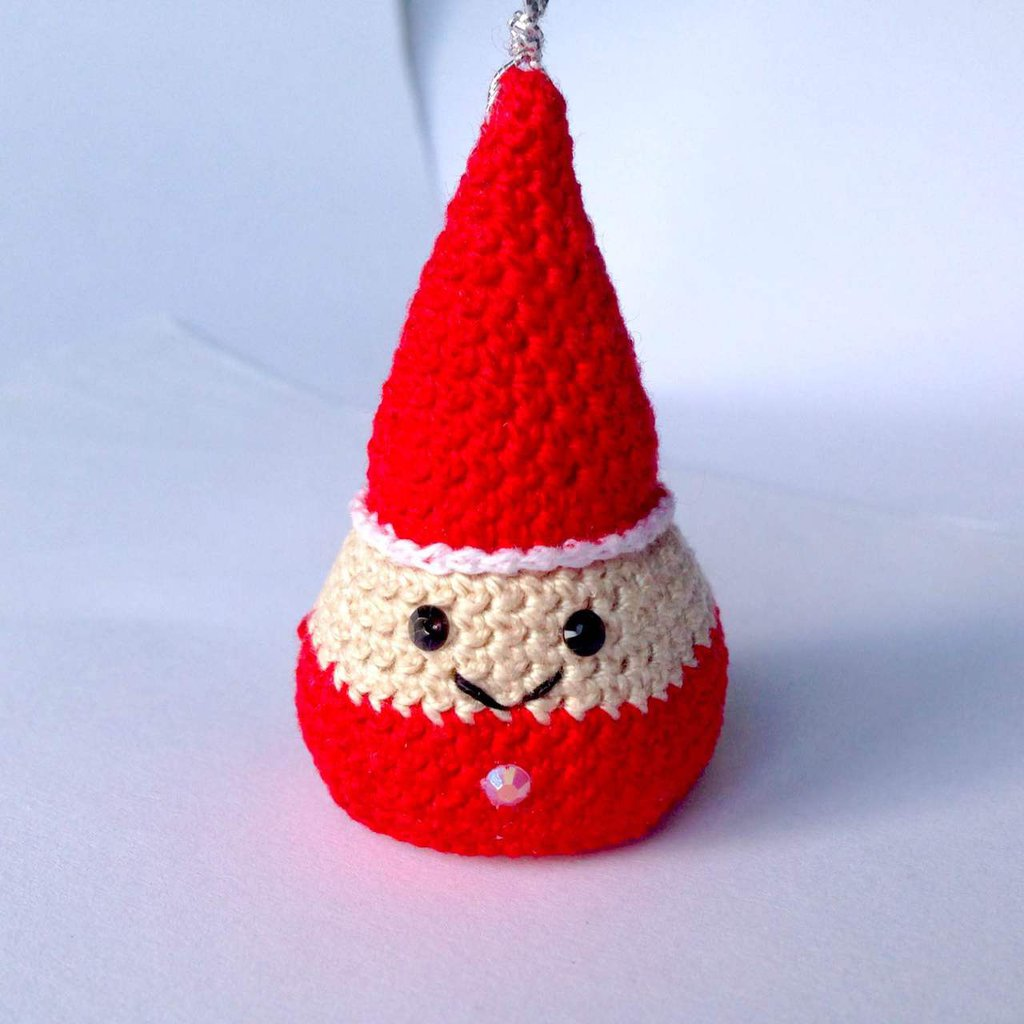 Babbo Natale alberello amigurumi, addobbo per l'albero, fatto a mano all'uncinetto
