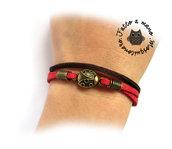 Bracciale donna coccinella portafortuna braccialetto fortuna rosso marrone