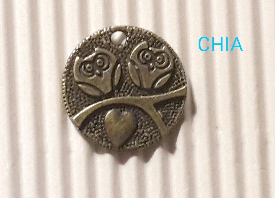 1 charm gufetti con cuore bronzo 18mm