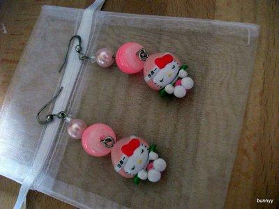 ORECCHINI HELLO KITTY fior di loto rosa
