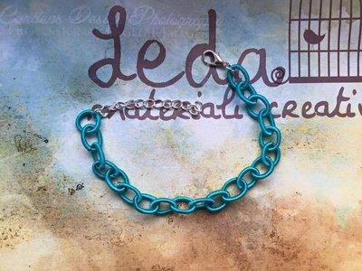 Base bracciale catena di seta azzurro petrolio