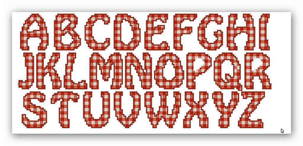 """Amato File di ricamo a macchina a punto croce """"Alfabeto a quadretti  TF43"""