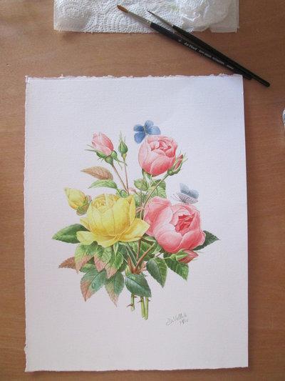 Acquerello su carta - Bouquet di rose