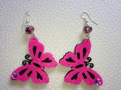 Orecchini farfalla fucsia in feltro