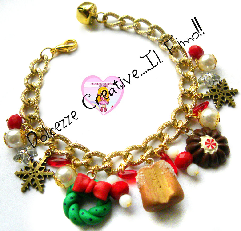 ☃ Natale In Dolcezze 2015 ☃ Bracciale Natalizio Con panettone, ghirlanda, fiocchi di neve e perle
