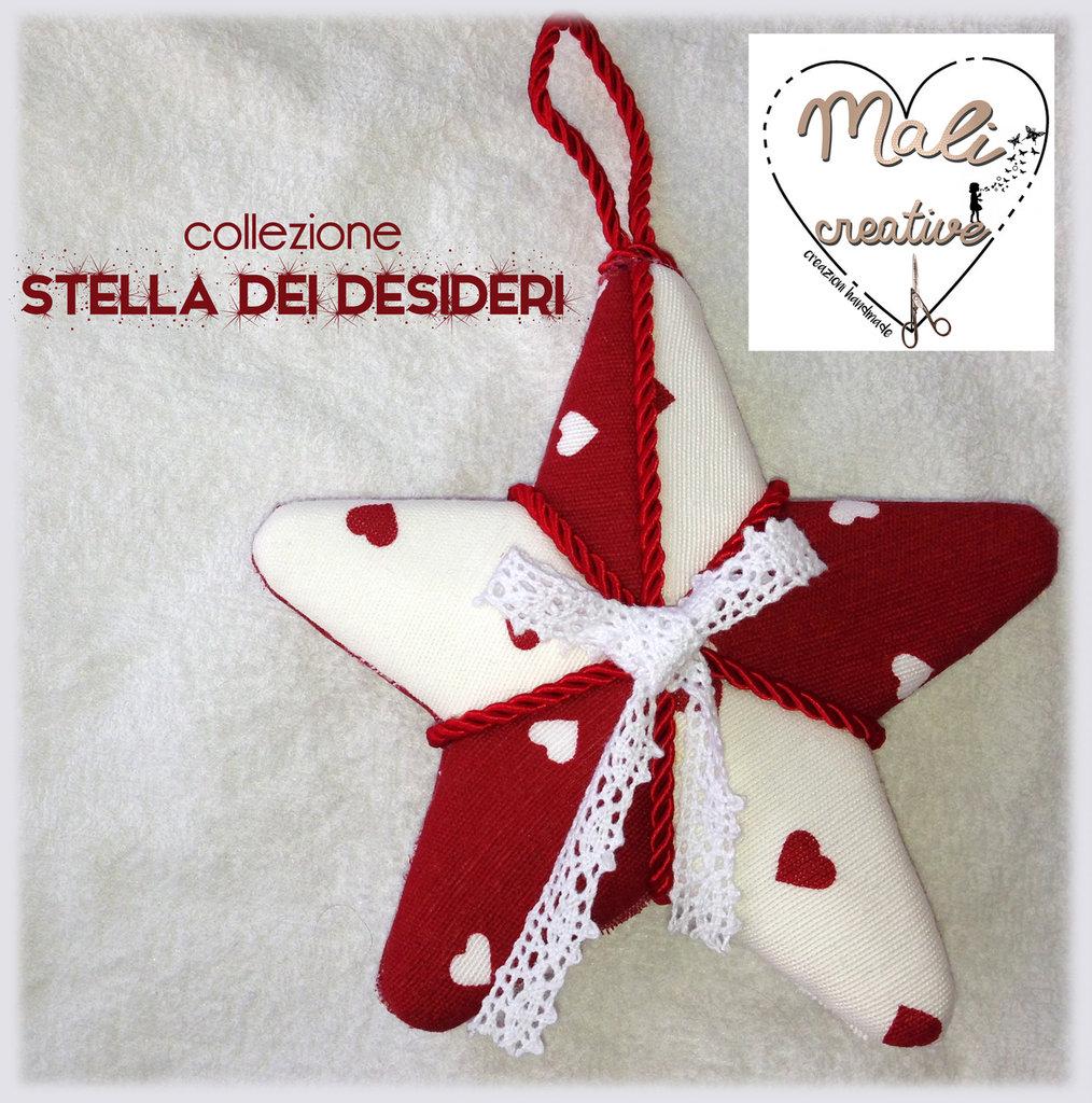 """Collezione """"Stella dei Desideri"""" Natale - Stella cuori bianchi e rossi"""