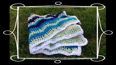 Copertina culla o lettino neonato blu azzurro bianca verde