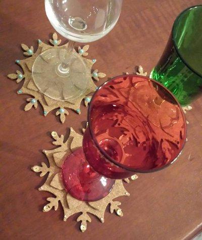 4 Sottobicchieri in sughero, idea regalo per Natale