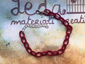 Base bracciale catena di seta rosso scuro