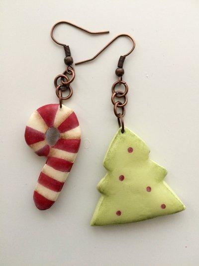 Orecchini di Natale ... Albero e bastoncino