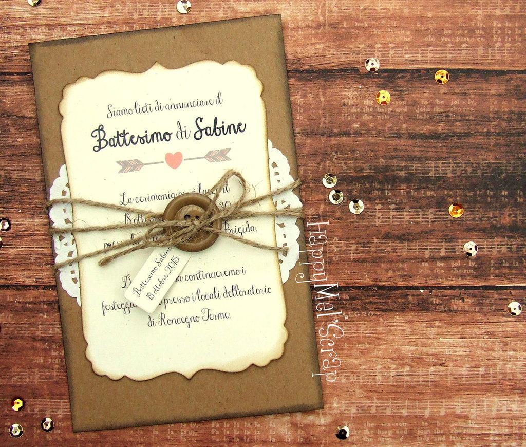 """Invito Battesimo """"Sabine"""" (bottone)"""