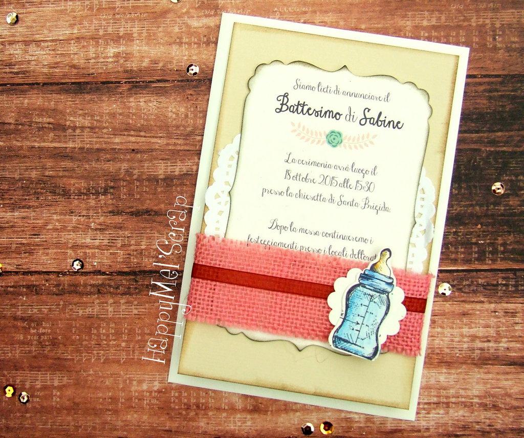 "Invito Battesimo ""Sabine"" (biberon)"