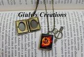 Collana con medaglione apribile porta foto - Libro di Hunger Games - Ghiandaia Imitatrice Katniss Everdeen trilogia