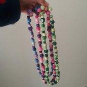 Collana lunga con perline di legno, viola, azzurre o verdi