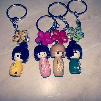 Portachiavi con bamboline giapponesi
