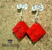 Orecchini LEGO originali pendenti rossi