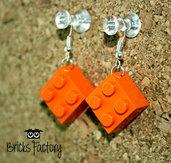 Orecchini LEGO originali pendenti arancio