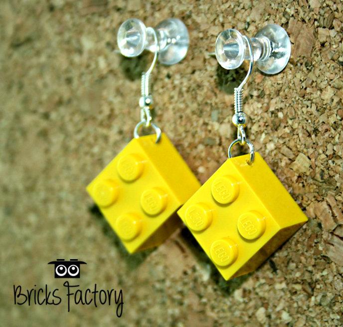 Orecchini LEGO originali pendenti gialli