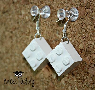 Orecchini LEGO originali pendenti bianchi