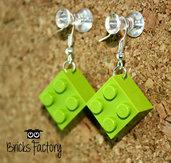 Orecchini LEGO originali pendenti verde chiaro