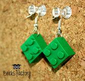 Orecchini LEGO originali pendenti verde scuro
