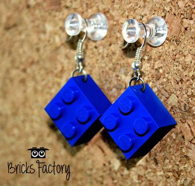 Orecchini LEGO originali pendenti blu