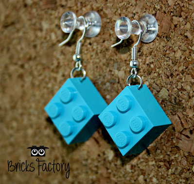 Orecchini LEGO originali pendenti azzurri