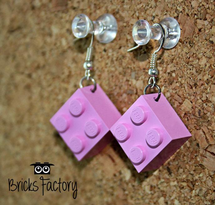 Orecchini LEGO originali pendenti rosa