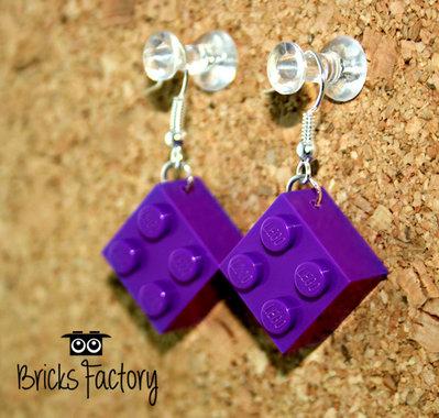 Orecchini LEGO originali pendenti viola