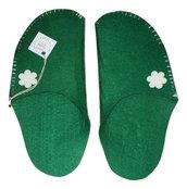 Pantofole One-piece verdi in feltro