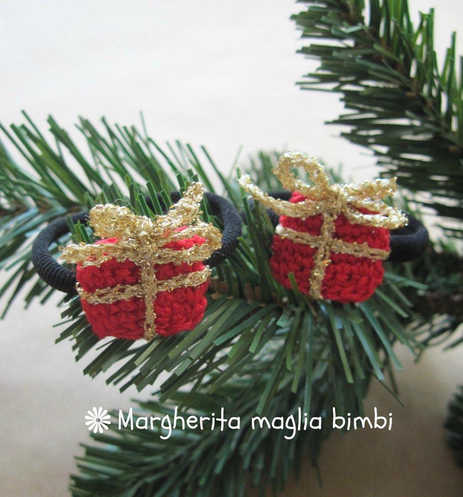 """Elastico """"pacchettino"""" per capelli, braccialetto bambina  - idea regalo Natale -  fatto a mano"""