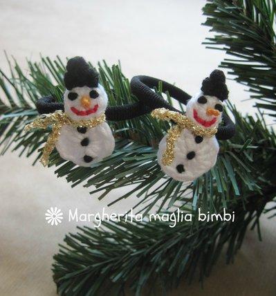 """Elastico """"pupazzo di neve"""" per capelli, braccialetto bambina  - idea regalo Natale -  fatto a mano"""