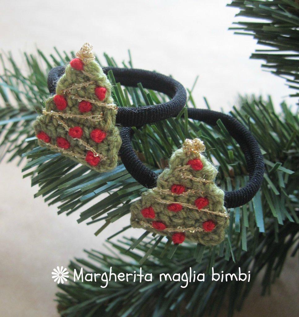 """Elastico """"albero di Natale"""" per capelli, braccialetto bambina  - idea regalo Natale -  fatto a mano"""