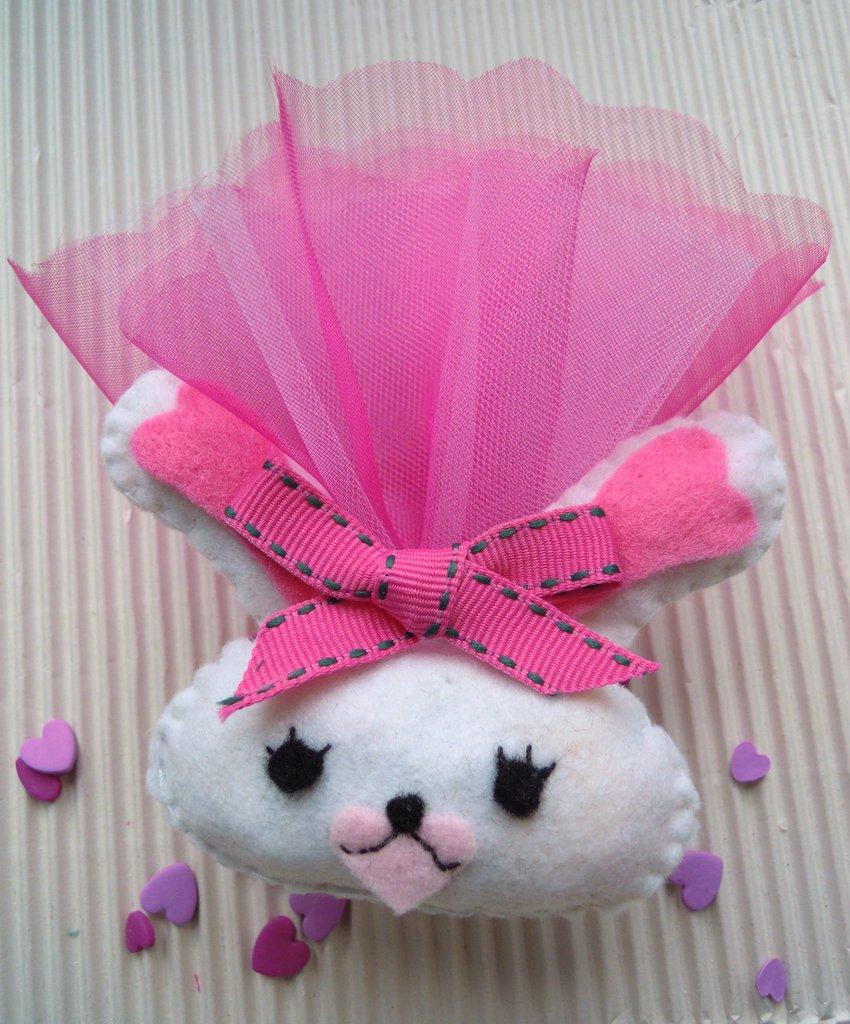 portachiavi coniglietta Mofy in pannolenci completa di toulle+confetti