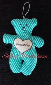 orsetto portachiavi in stoffa personalizzabile con nome