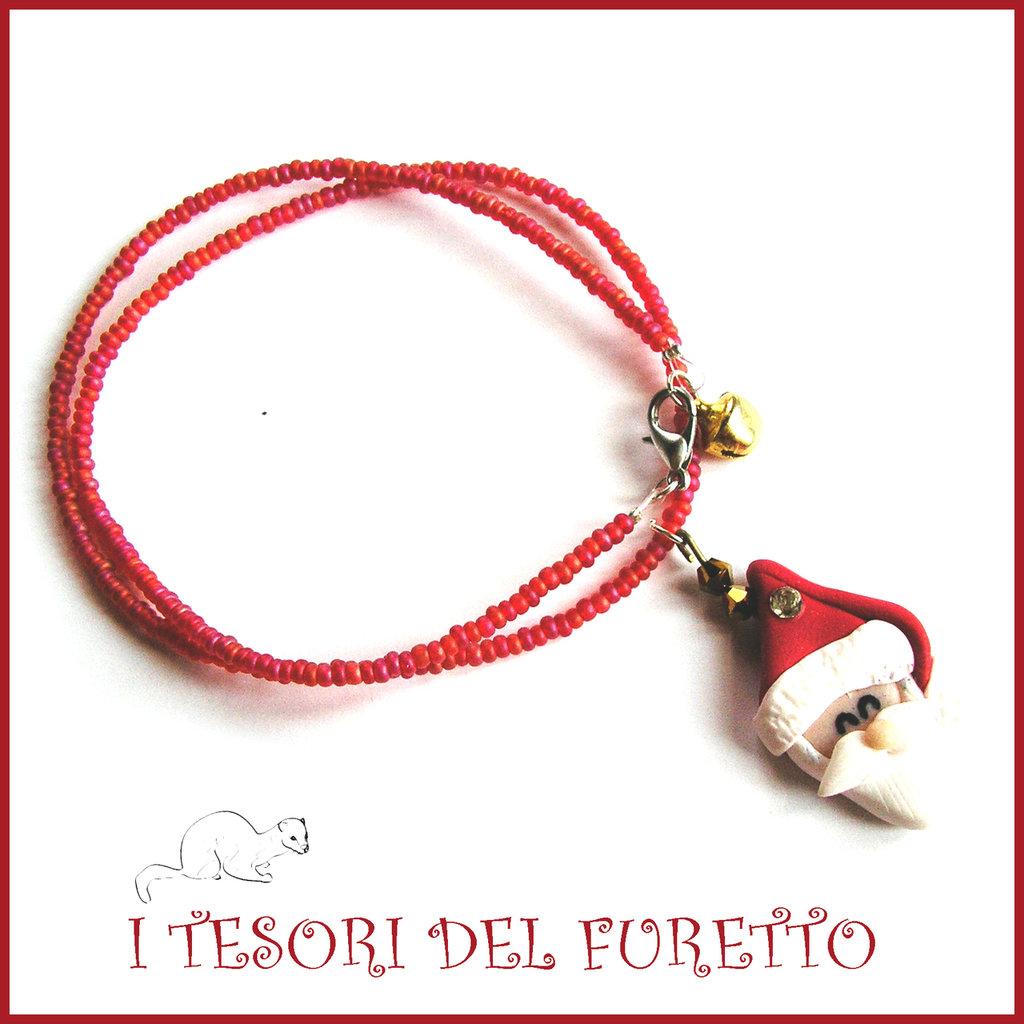 """Collana Natale 2015 """" Babbo Natale su base rosso"""" FImo cernit premo idea regalo bijoux natalizi bambina donna per lei kawaii"""