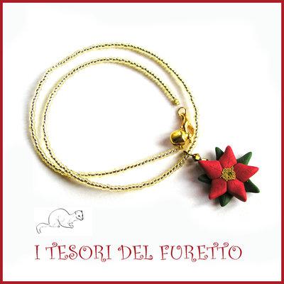 """Collana Natale 2015 """"Stella di Natale su base oro trasparente"""" FImo cernit premo idea regalo bijoux natalizi bambina donna per lei kawaii"""