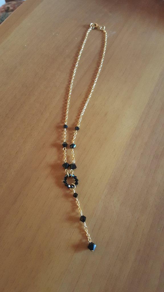 collana con pendente e cerchio in swarovski