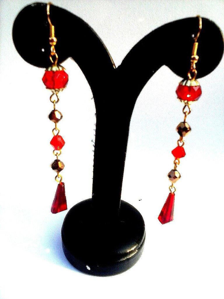 orecchini cristallo rossi